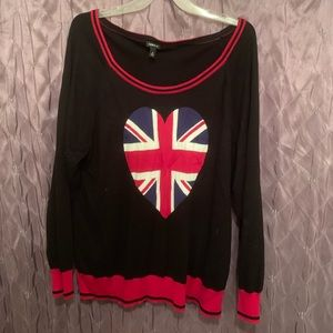 Torrid 4x Union Jack heart sweater